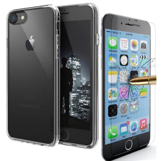 Pack Apple iPhone - 1 Coque Silicone + 1 Verre Trempé