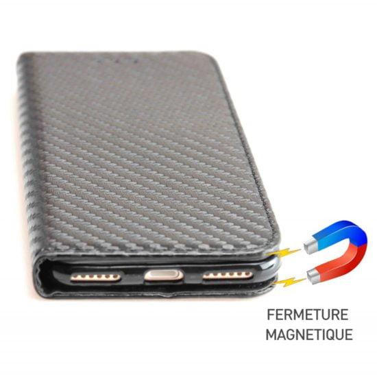 Housse Coque Etui Magnétique Carbone - iPhone 7 - AVSCASE