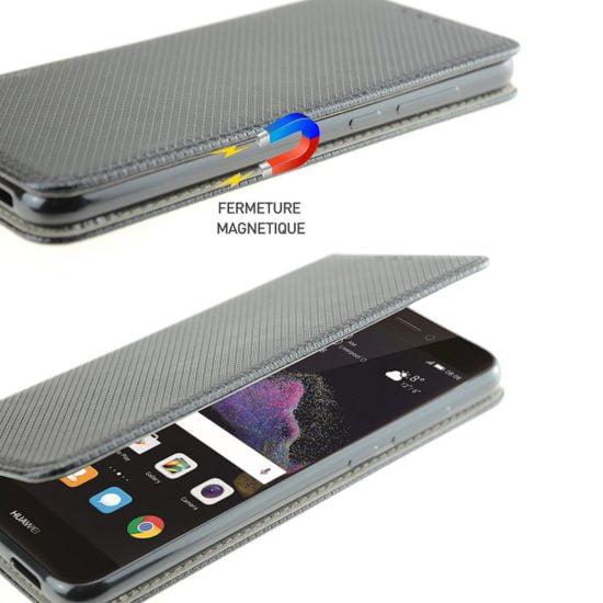 Housse Coque Etui Magnétique Huawei P8 Lite 2017 Noir