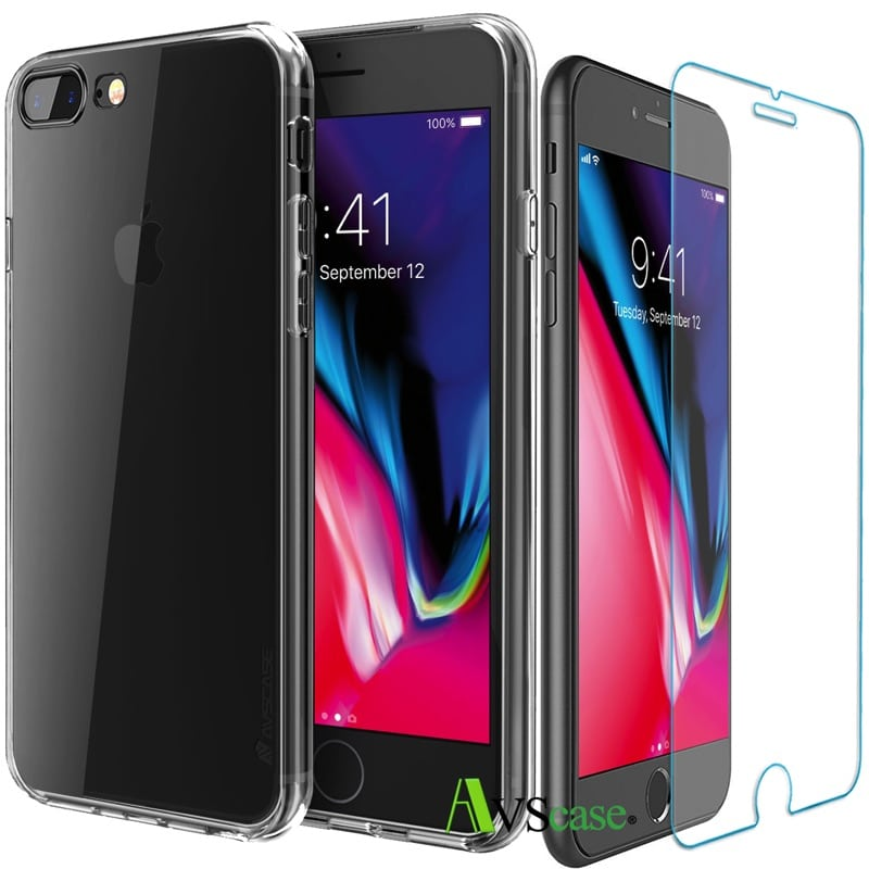 pack iphone 8 plus coque silicone verre tremp avscase. Black Bedroom Furniture Sets. Home Design Ideas